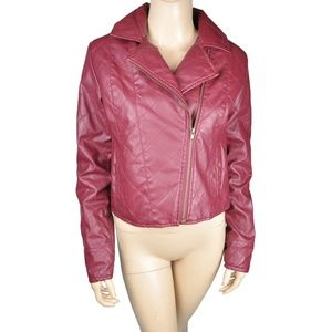 Red Jacket Motorcycle Faux Leather Quilted